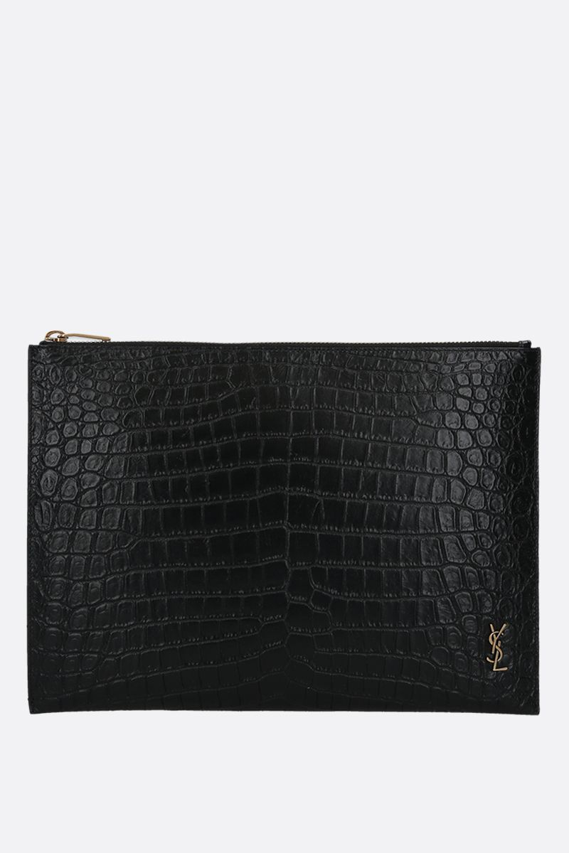 SAINT LAURENT: Monogram crocodile-embossed leather tablet holder Color Black_1