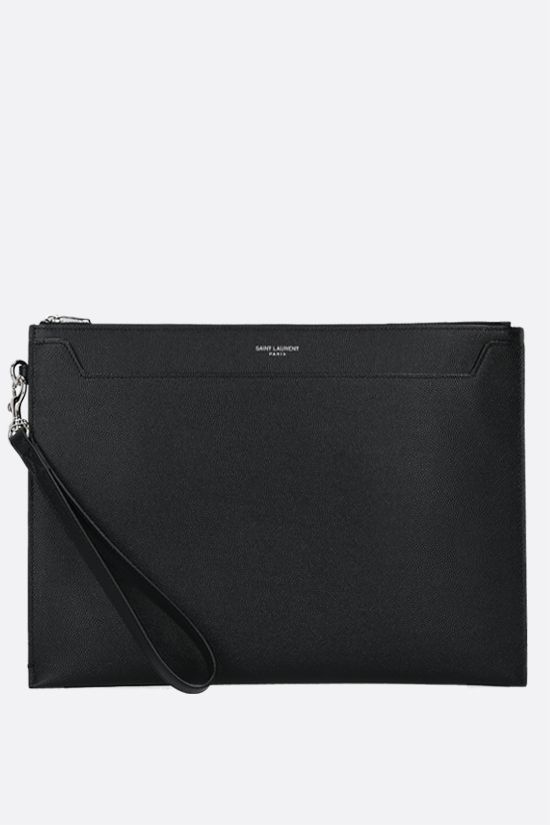 SAINT LAURENT: porta tablet Cathrine in pelle Grain de Poudre Colore Nero_1