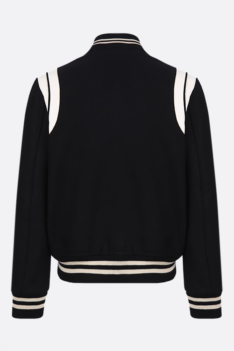 SAINT LAURENT: leather-detailed wool bomber jacket Color Black_2