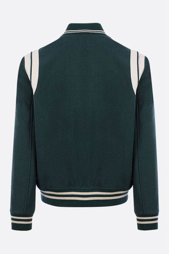 SAINT LAURENT: leather-detailed wool blend bomber jacket Color Green_2
