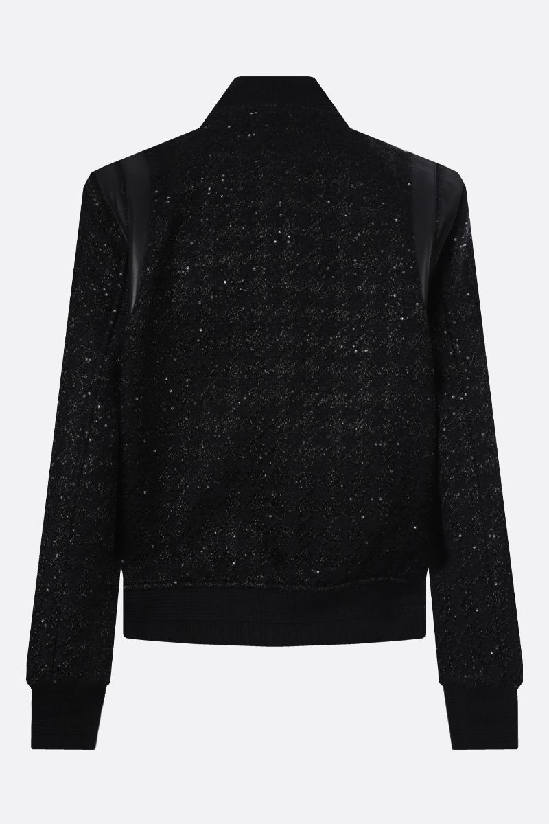 SAINT LAURENT: nappa-detailed tweed bomber jacket Color Black_2