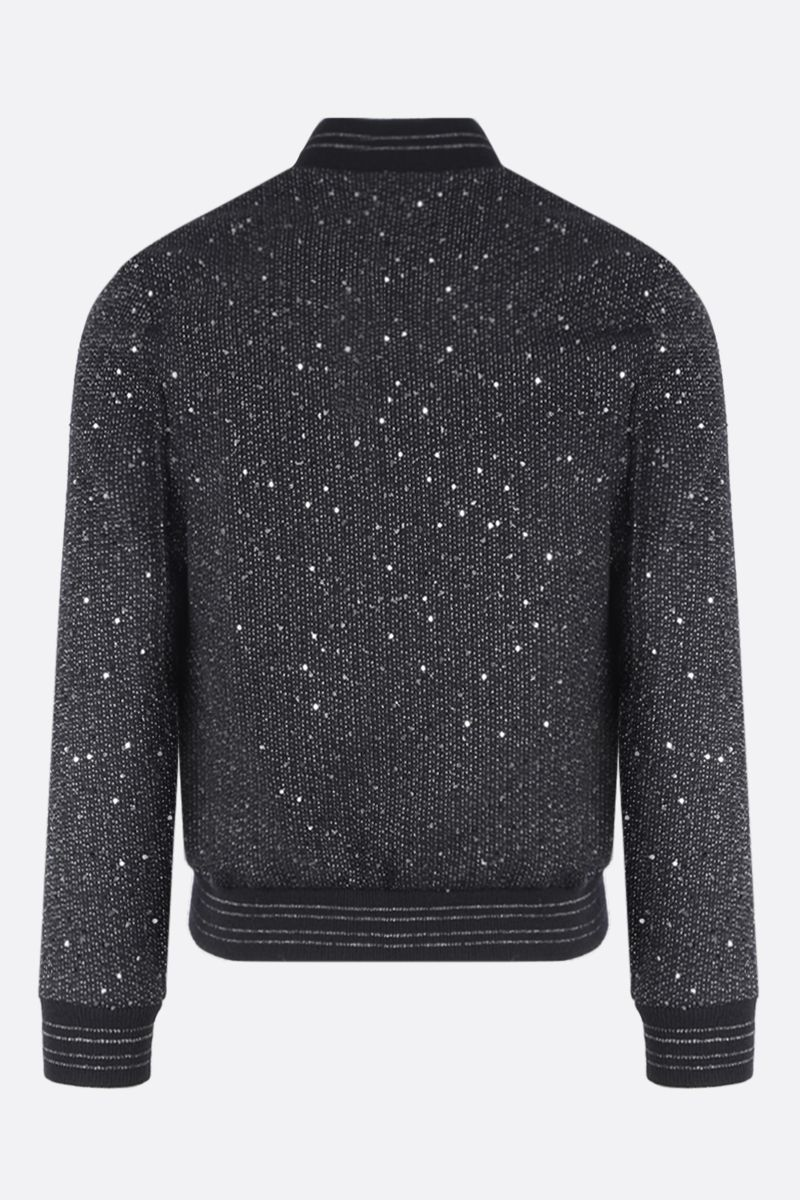 SAINT LAURENT: bomber jacket in sequinned tweed and lurex Color Black_2