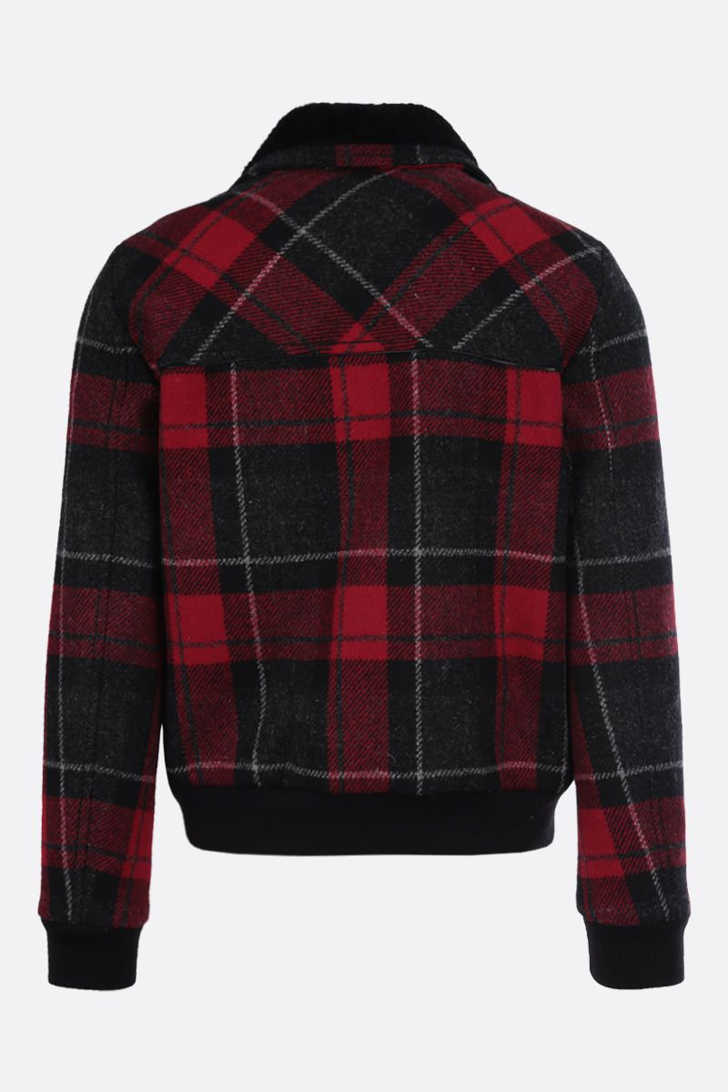 SAINT LAURENT: check wool padded jacket Color Red_2