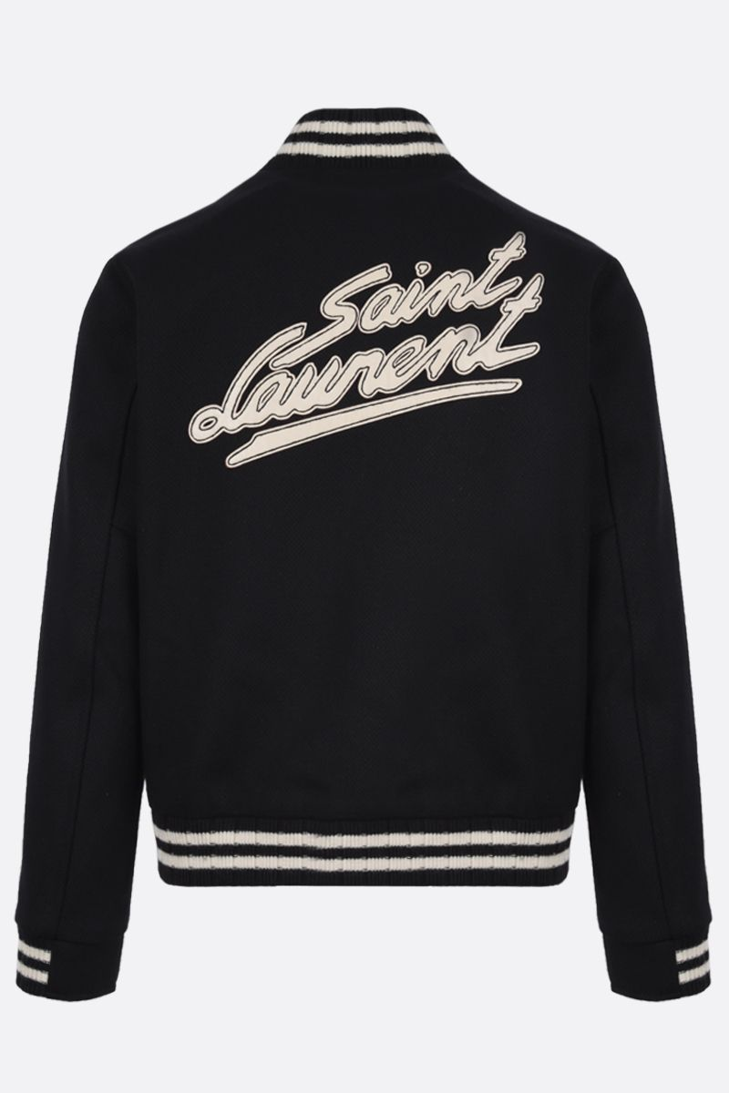 SAINT LAURENT: Saint Laurent patch wool blend bomber jacket Color Black_2
