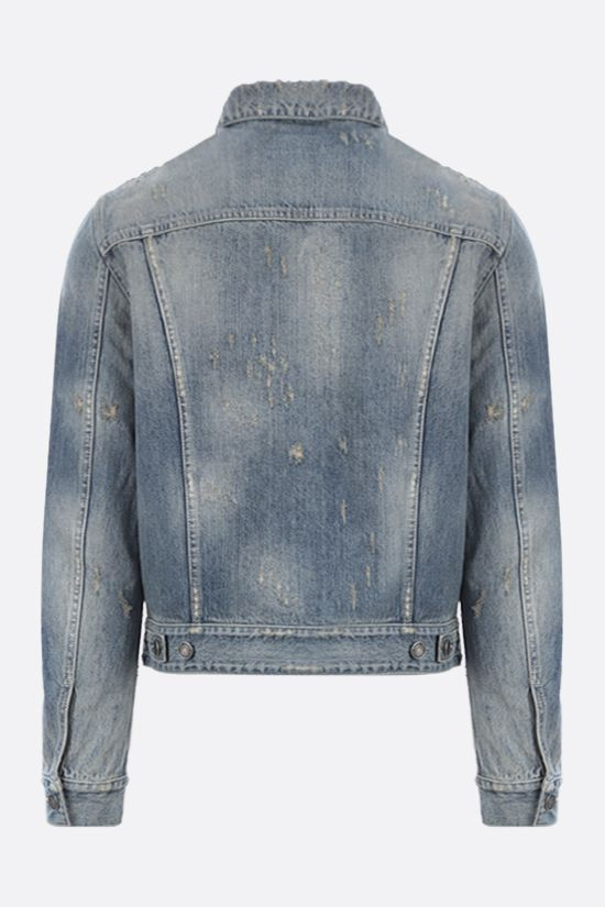 SAINT LAURENT: distressed-effect denim jacket Color Blue_2