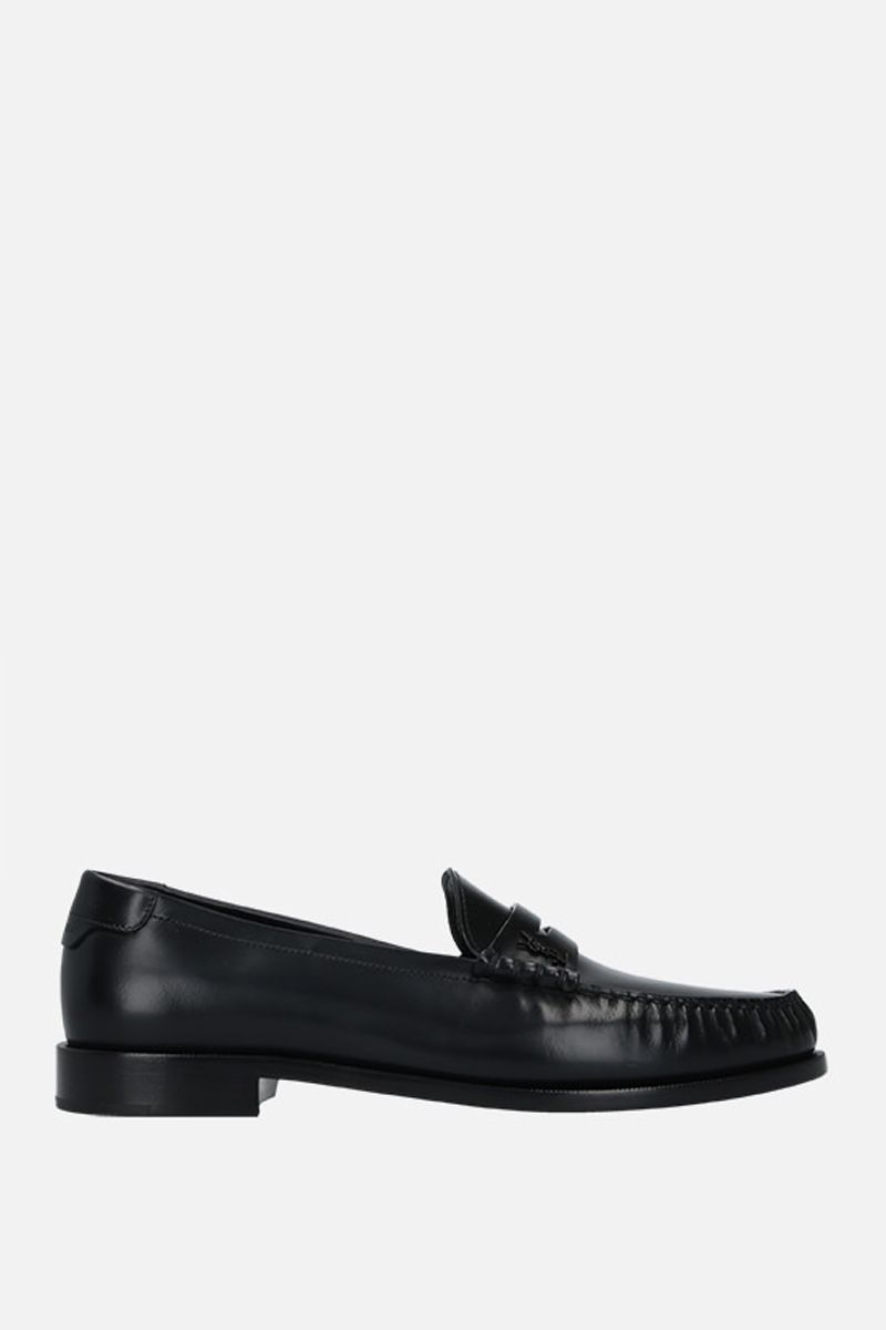 SAINT LAURENT: Monogram smooth leather loafers Color Black_1