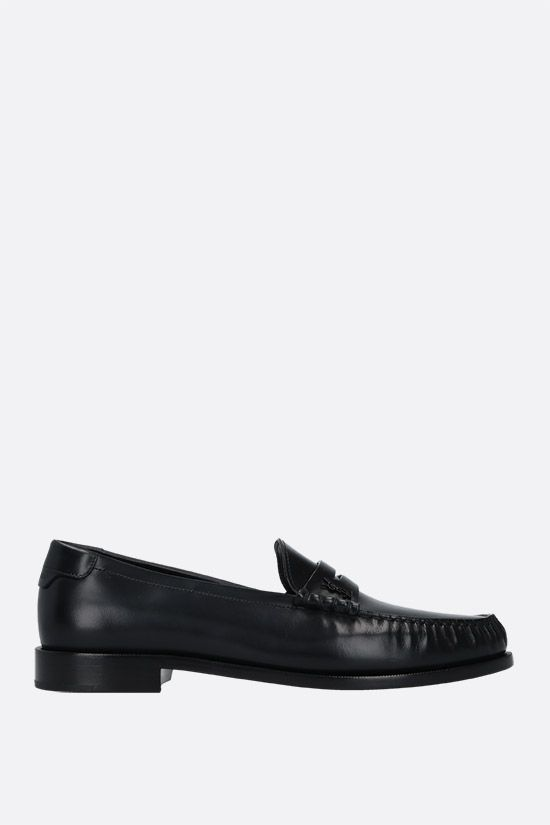 SAINT LAURENT: Monogram-detailed smooth leather loafers Color Black_1