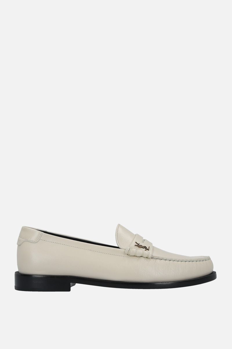 SAINT LAURENT: Monogram-detailed smooth leather loafers Color White_1