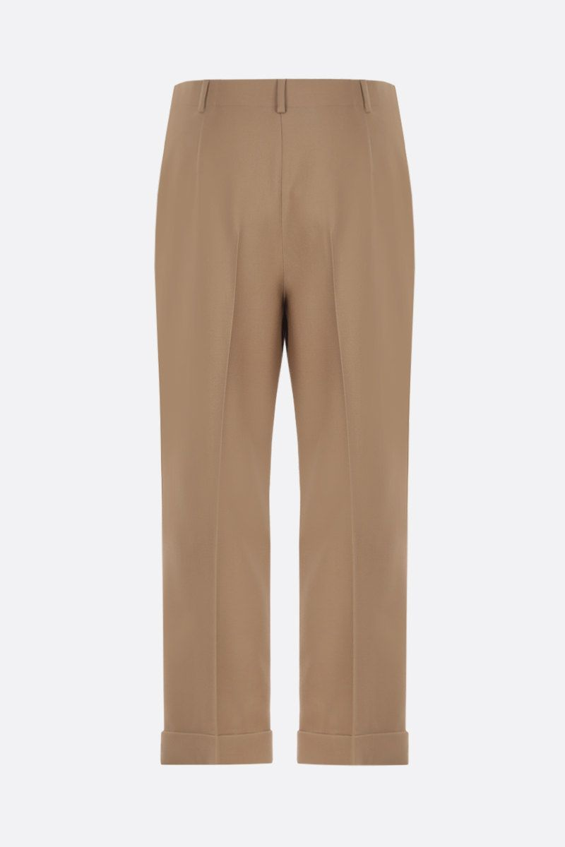 SAINT LAURENT: wool gabardine cropped pants Color Neutral_2