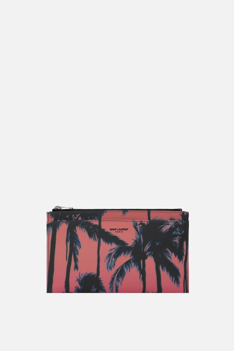 SAINT LAURENT: porta banconote con zip in nylon stampa Palm_1