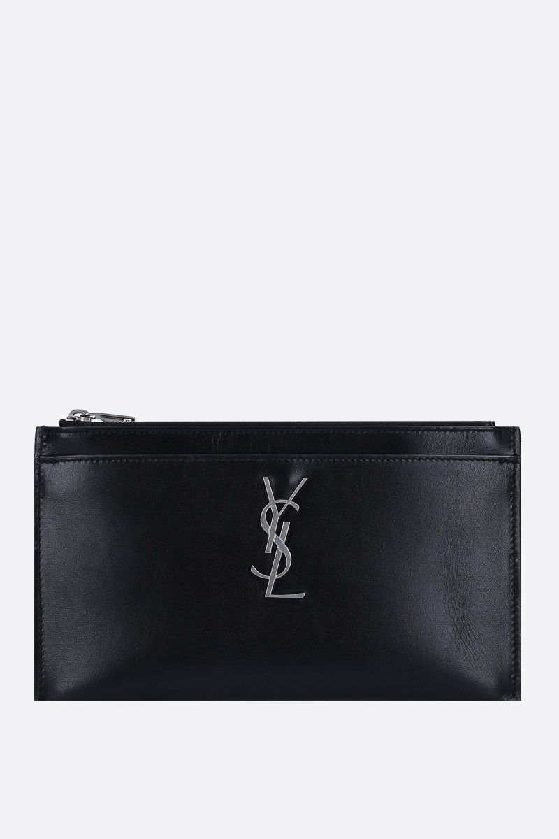 SAINT LAURENT: Monogram bill pouch in smooth leather Color Black_1