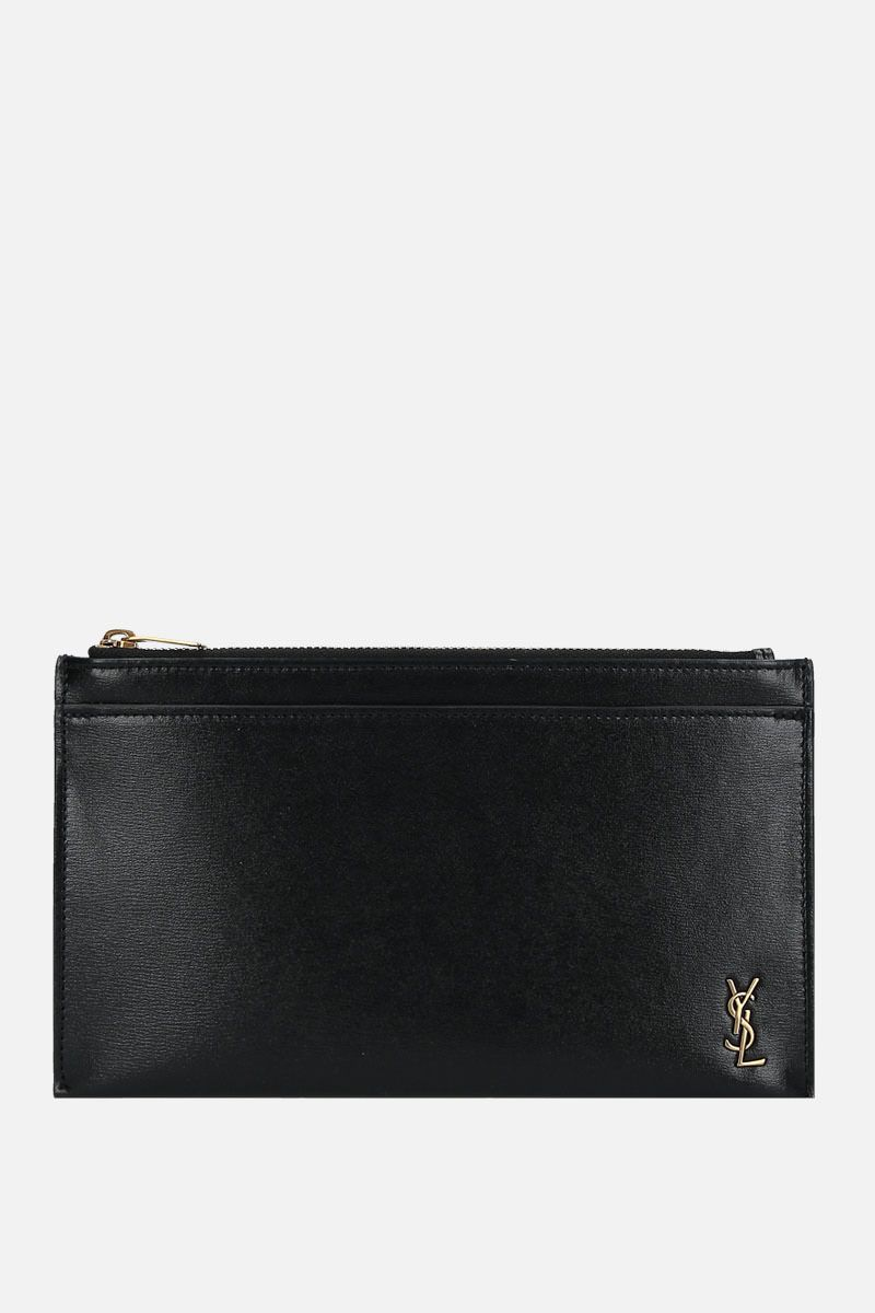 SAINT LAURENT: Monogram small bill pouch in shiny leather Color Black_1