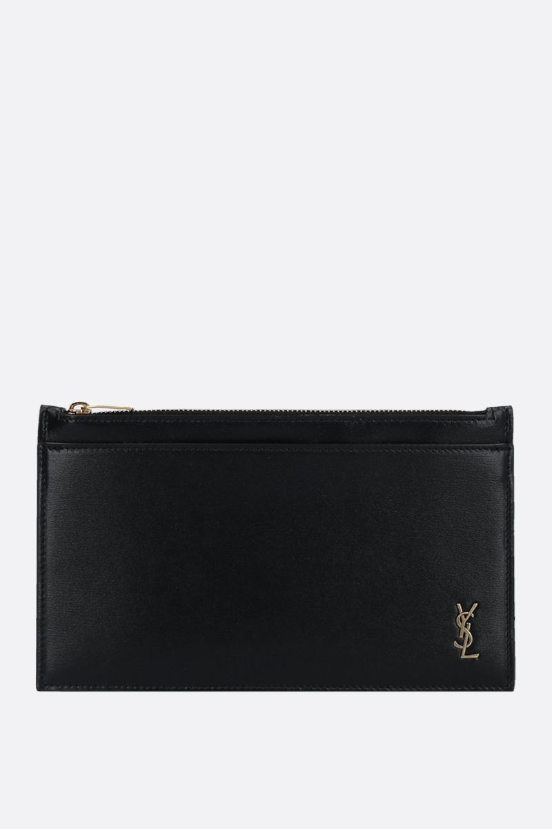 SAINT LAURENT: Monogram mini shiny leather pouch Color Black_1