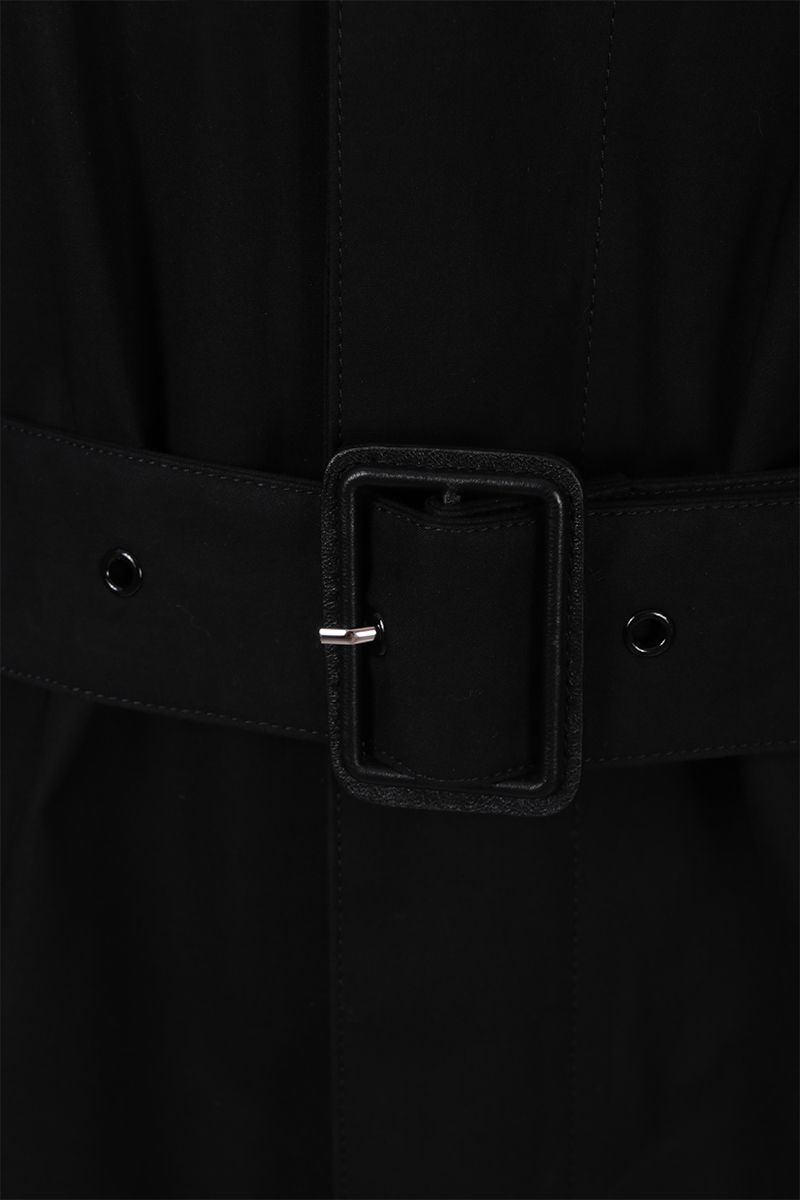 SAINT LAURENT: cotton single-breasted trench coat Color Black_3