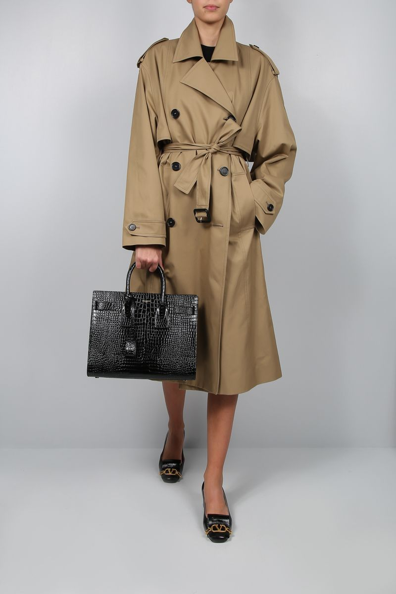 SAINT LAURENT: double-breasted trench coat in cotton gabardine Color Neutral_2