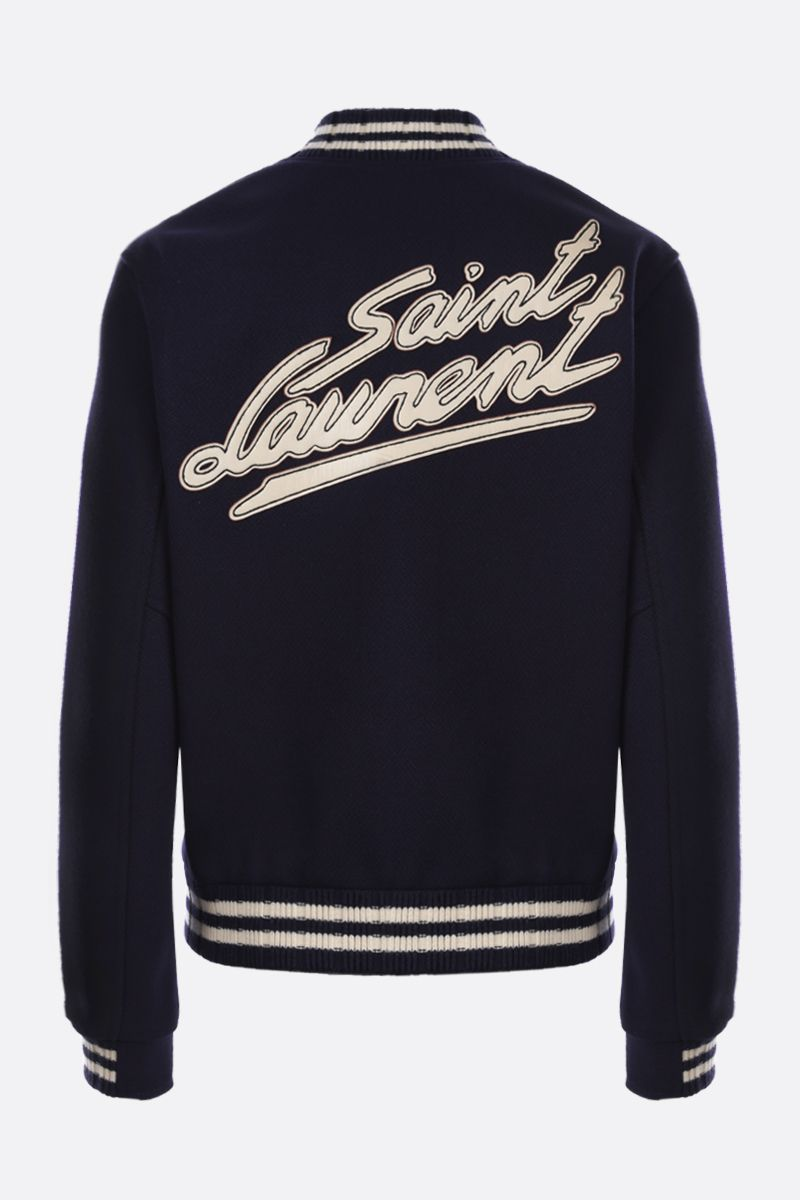 SAINT LAURENT: Saint Laurent patch wool blend bomber jacket_2