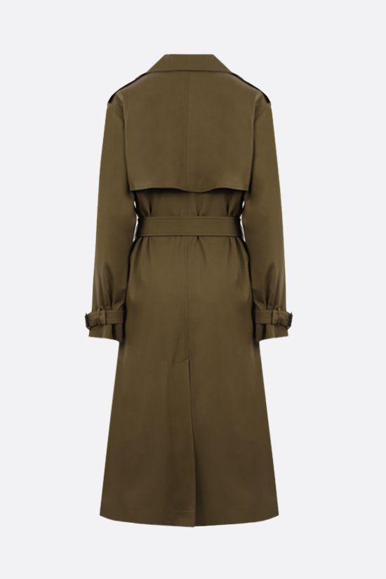 SAINT LAURENT: trench doppiopetto in twill tecnico Colore Marrone_2