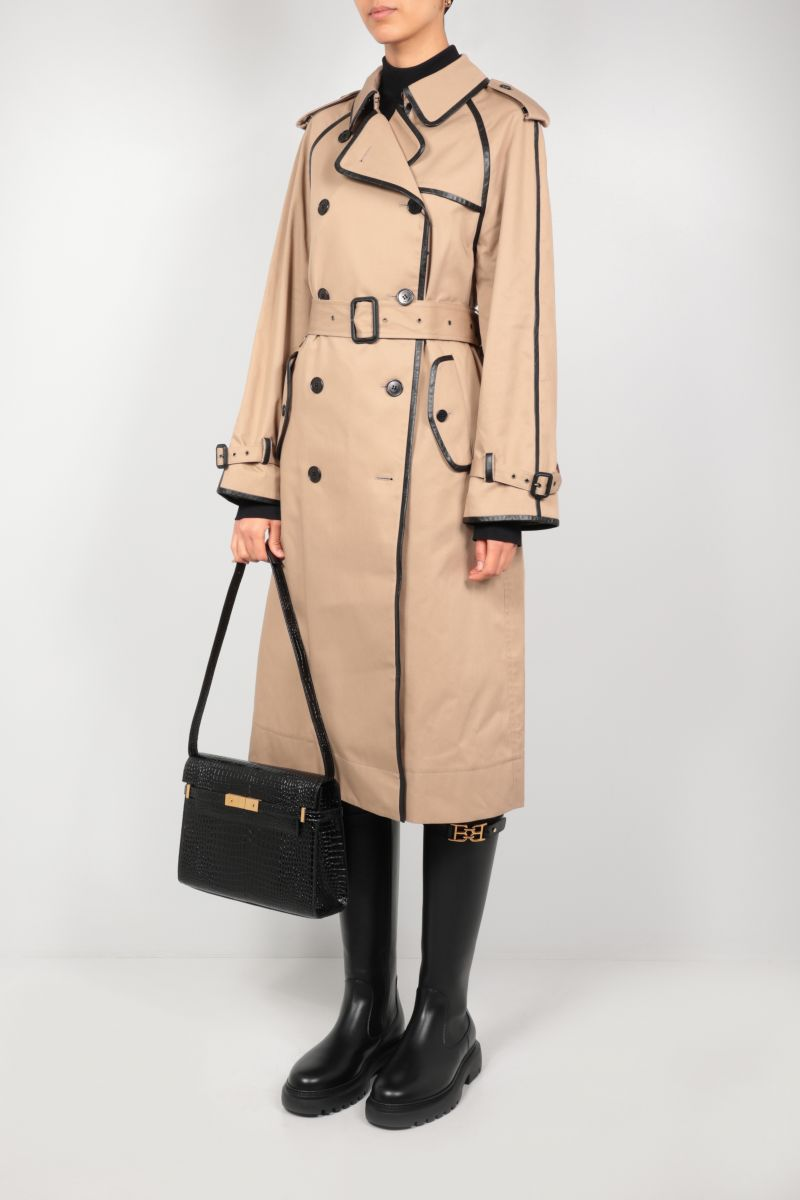 SAINT LAURENT: double-breasted gabardine and leather trench coat Color Neutral_2