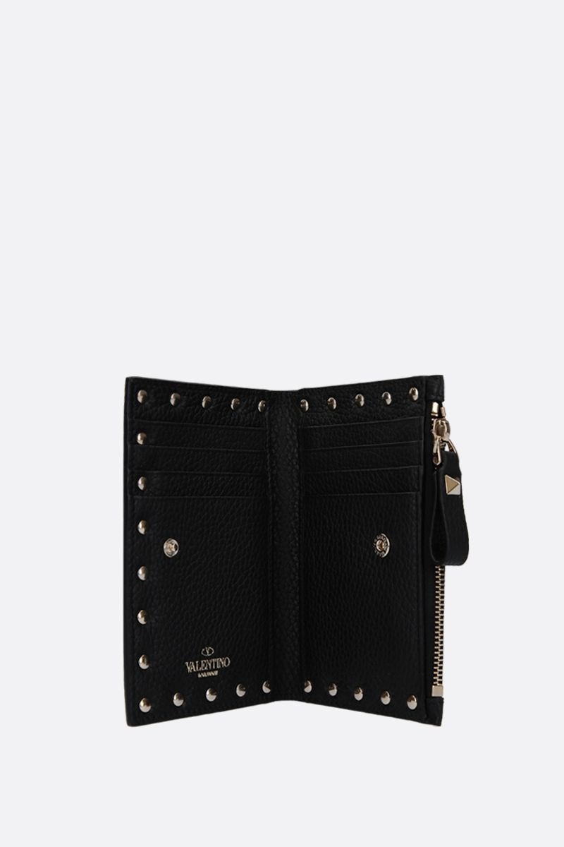 VALENTINO GARAVANI: Rockstud grainy leather card case Color Black_2