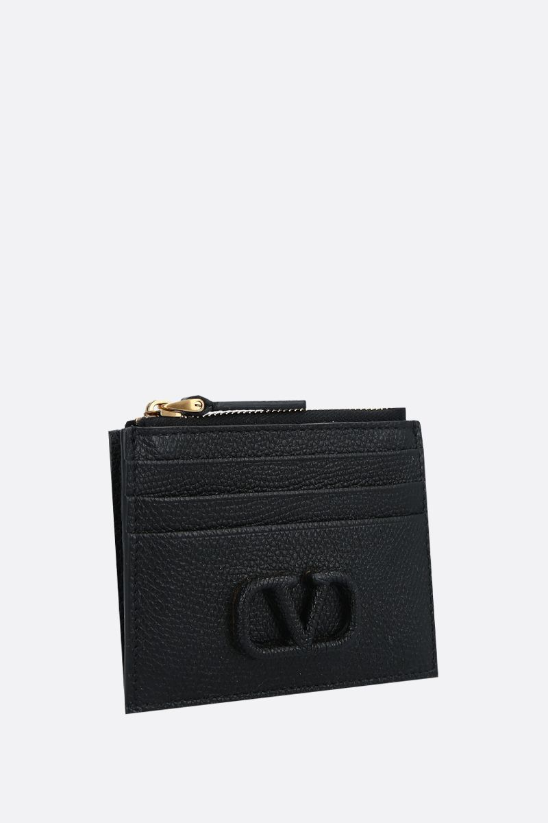 VALENTINO GARAVANI: VSLING grainy leather zip card case Color Black_2