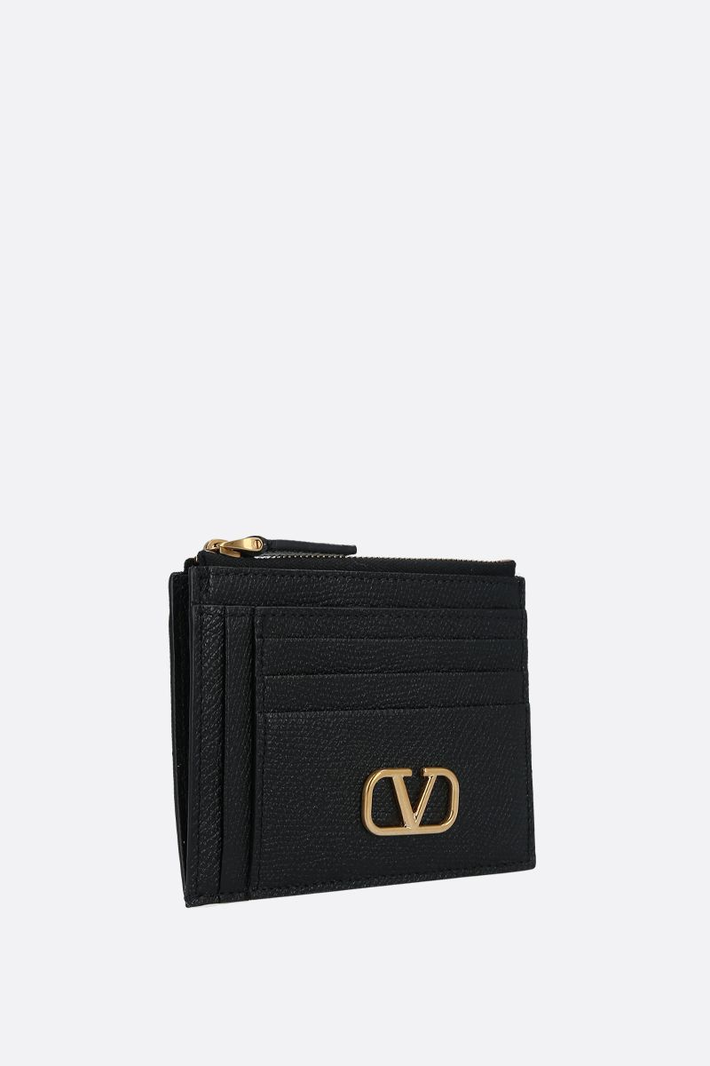 VALENTINO GARAVANI: VLOGO grainy leather zip card case Color Black_2