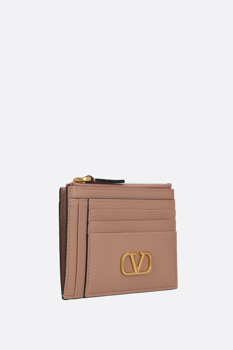 VALENTINO GARAVANI: VLOGO grainy leather zip card case_2