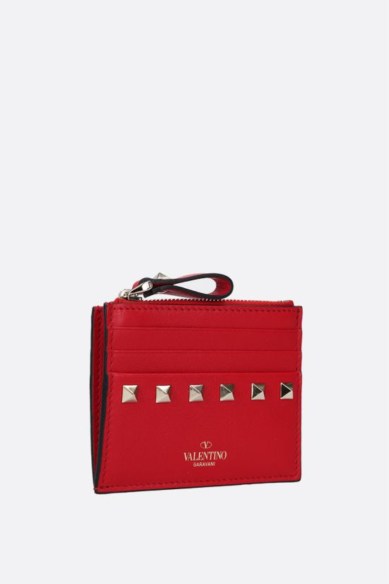 VALENTINO GARAVANI: Rockstud smooth leather card case Color Red_2