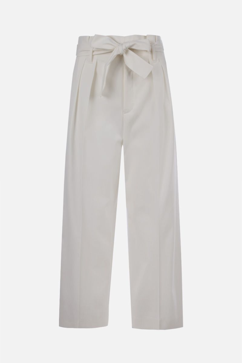 RED VALENTINO: belt-detailed wool blend cropped pants Color White_1