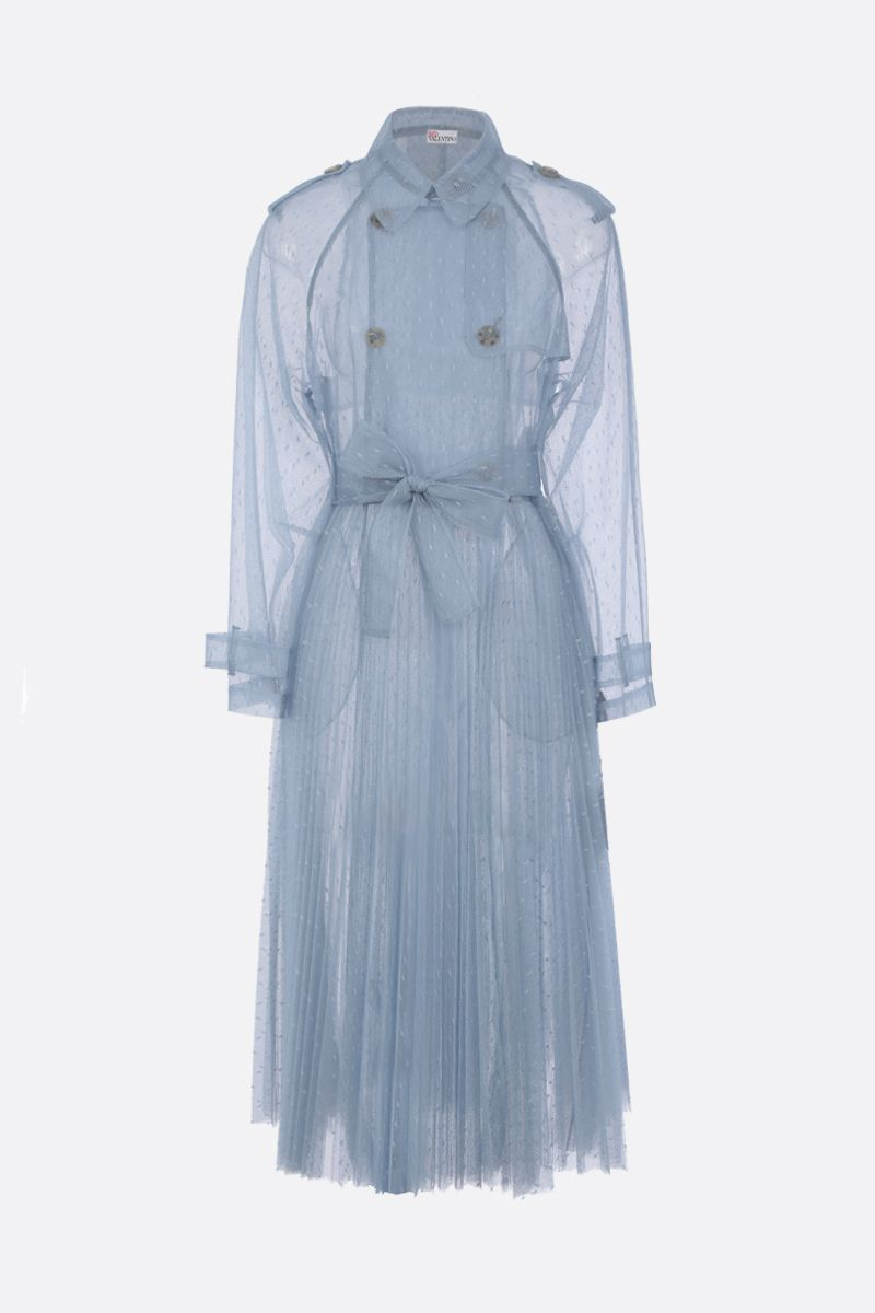 RED VALENTINO: point d'esprit tulle pleated trench coat Color Blue_1