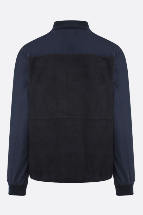 ELEVENTY: suede and technical wool bomber jacket Color Blue_2