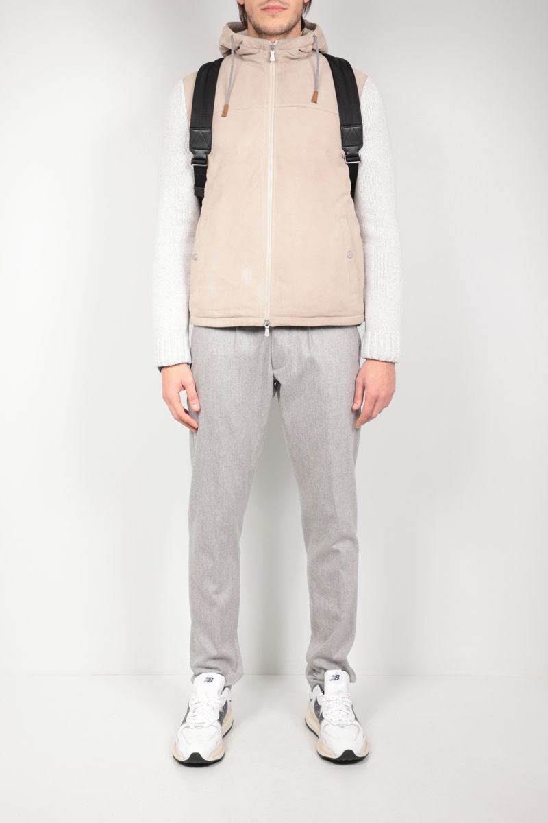 ELEVENTY: suede and knit padded jacket Color Neutral_2