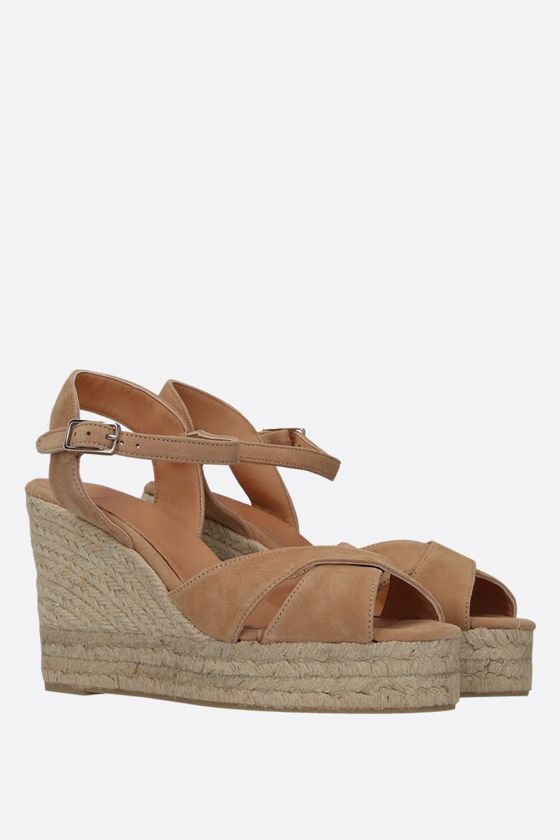 CASTANER: Blaudell wedge sandals in velvet suede Color Brown_2