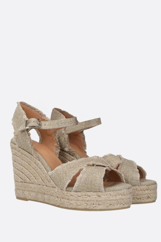 CASTANER: Bromelia canvas and lurex wedge sandals Color Gold_2