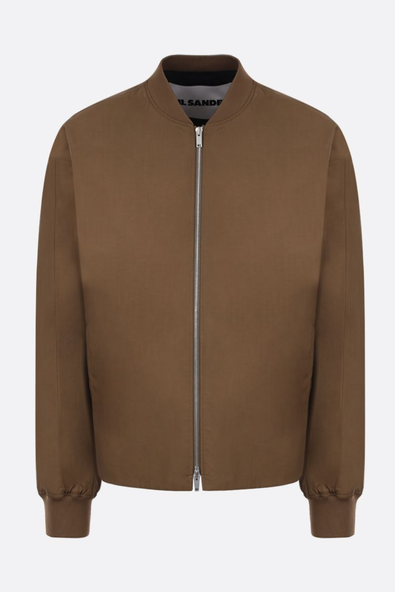 JIL SANDER: cotton bomber jacket Color Brown_1