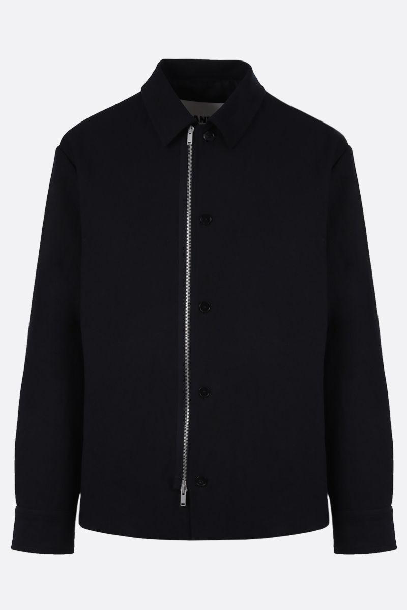 JIL SANDER: twill padded full-zip padded jacket Color Blue_1