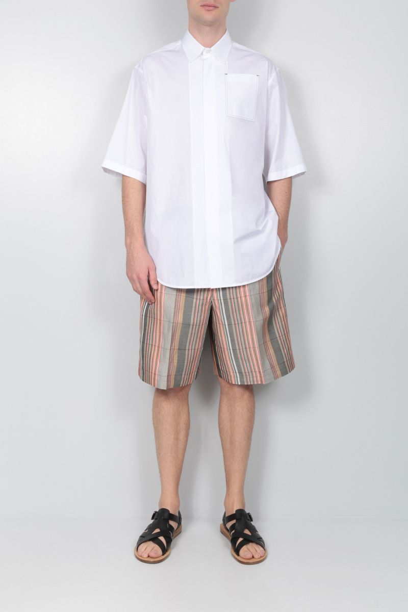 JIL SANDER: striped linen blend shorts Color Black_2