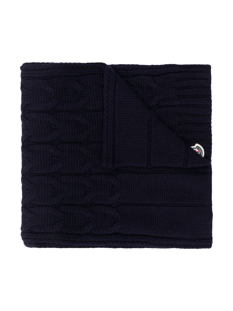 MONCLER KIDS: logo patch wool cable-knit scarf Color Blue_1