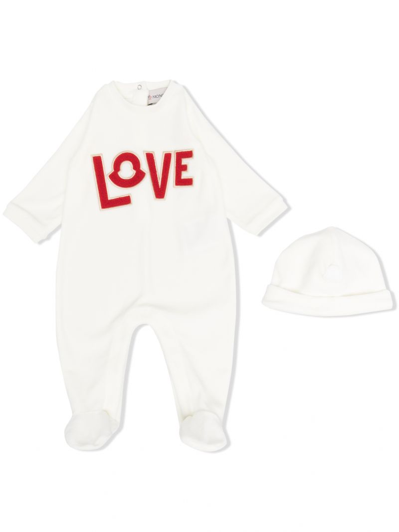 MONCLER KIDS: Love patch cotton babygrow and beanie Color White_1