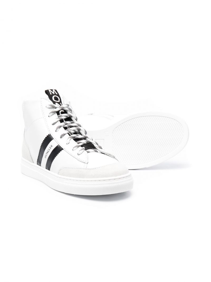 MONCLER KIDS: Anyse smooth leather high-top sneakers Color White_2