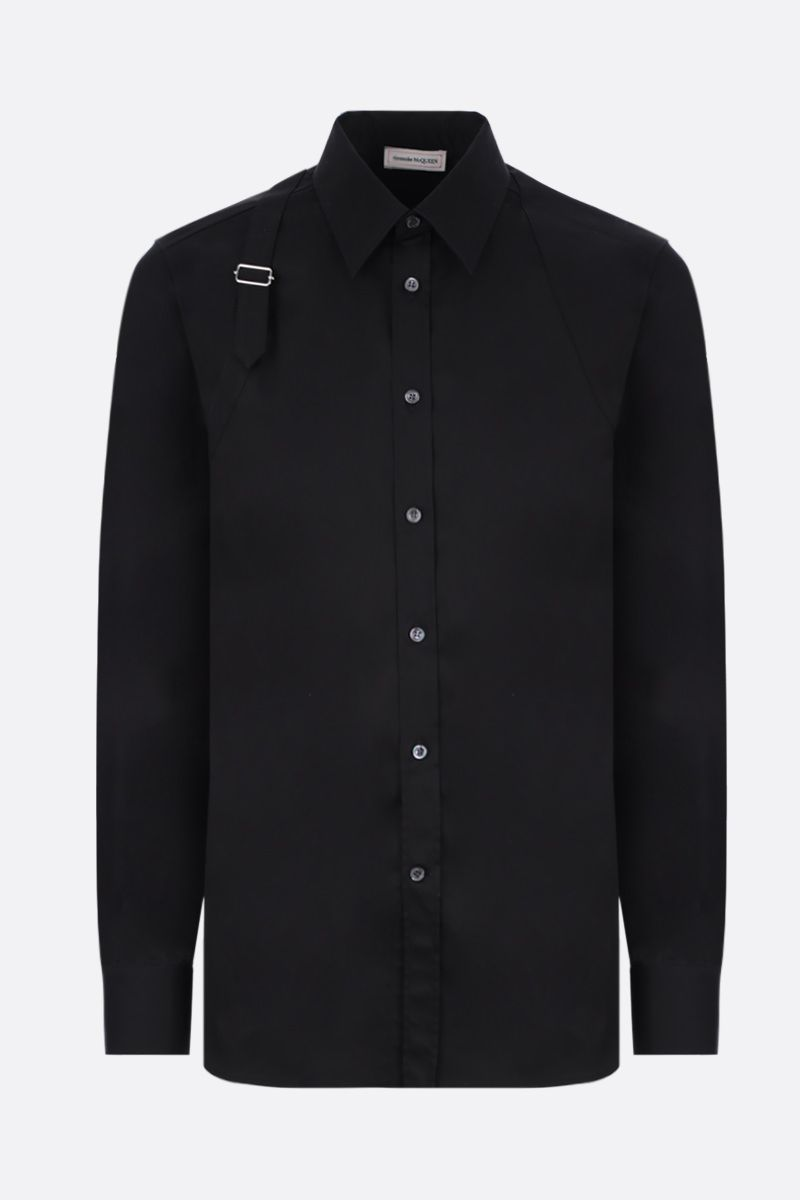 ALEXANDER McQUEEN: stretch poplin shirt with piquet inserts Color Black_1