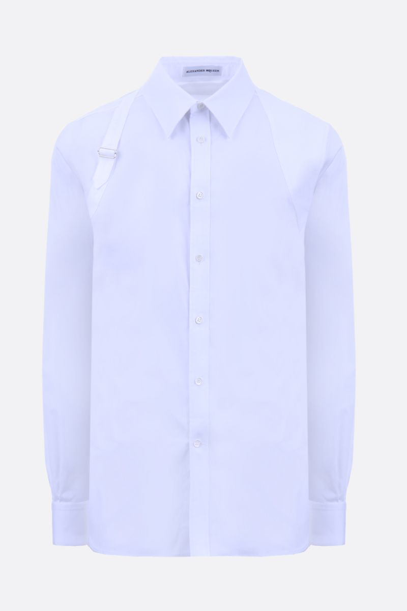 ALEXANDER McQUEEN: stretch poplin shirt with piquet inserts Color White_1