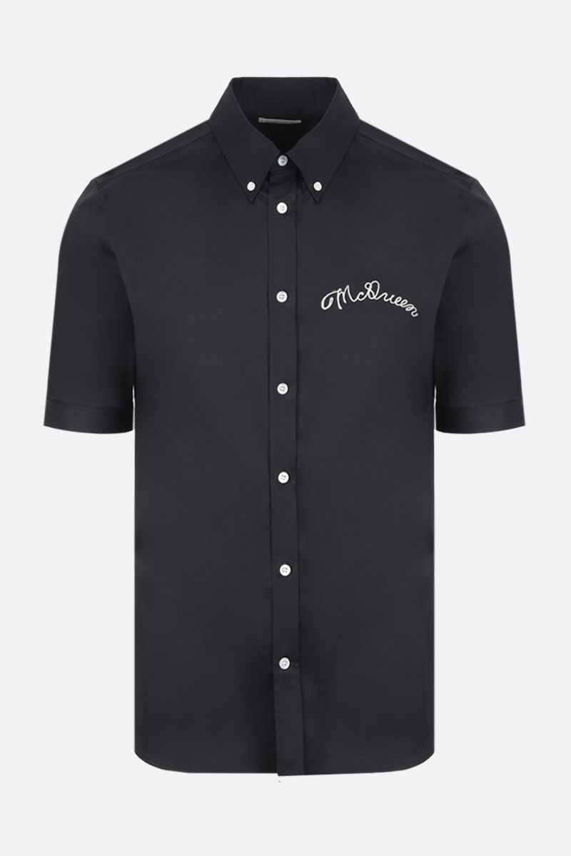 ALEXANDER McQUEEN: short-sleeved shirt in cotton blend Color Black_1
