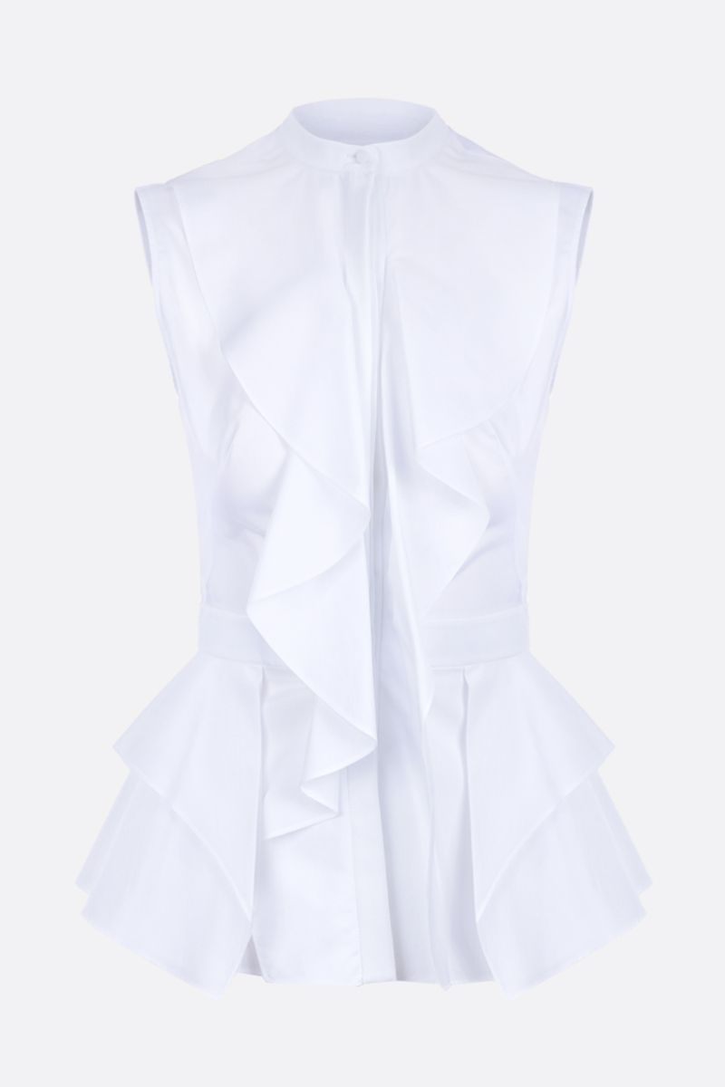 ALEXANDER McQUEEN: poplin sleeveless shirt with frills Color White_1