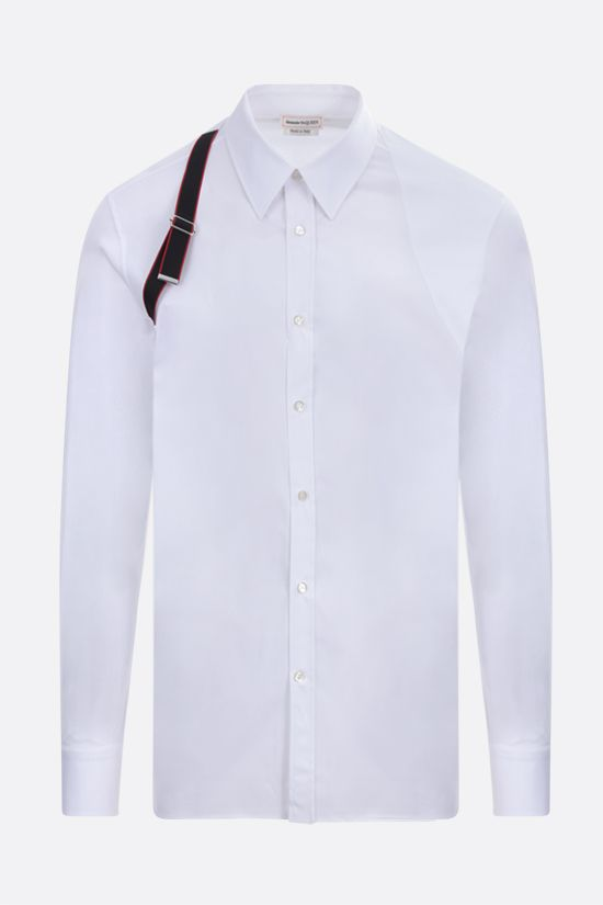 ALEXANDER McQUEEN: Harness stretch cotton shirt Color White_1