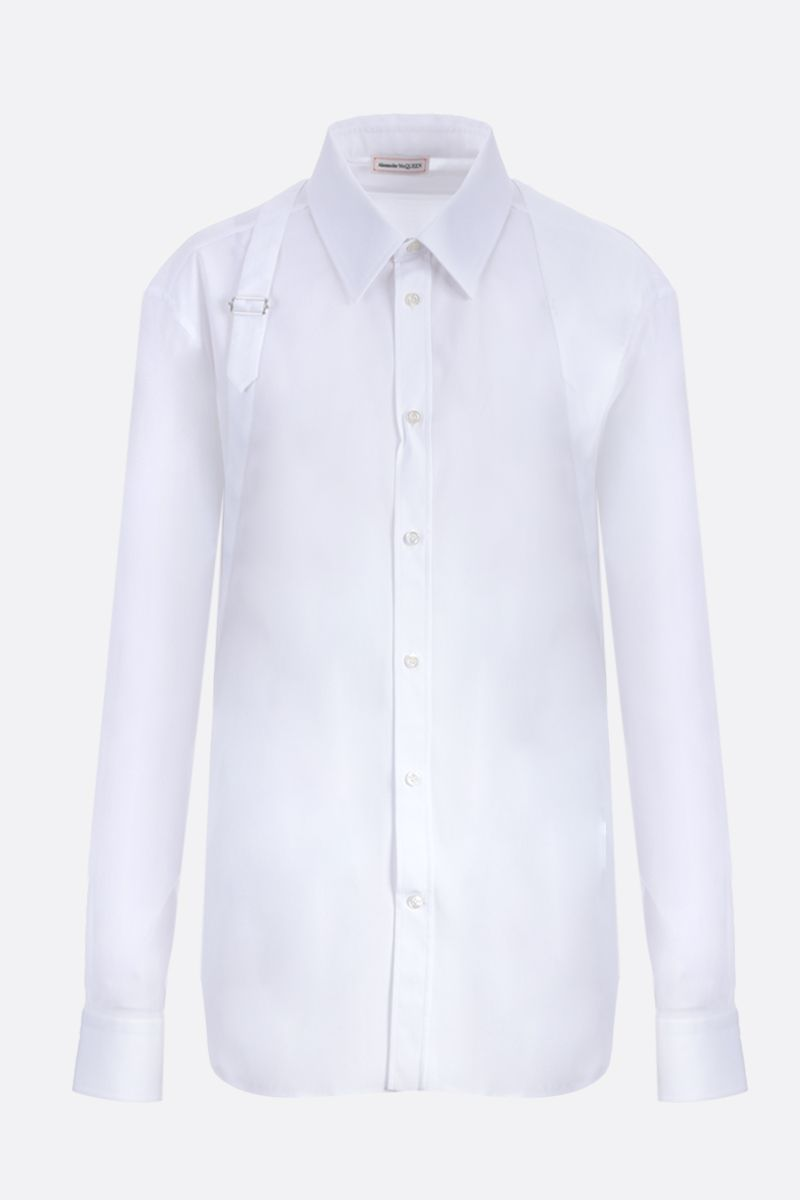 ALEXANDER McQUEEN: harness-detailed stretch poplin shirt Color White_1