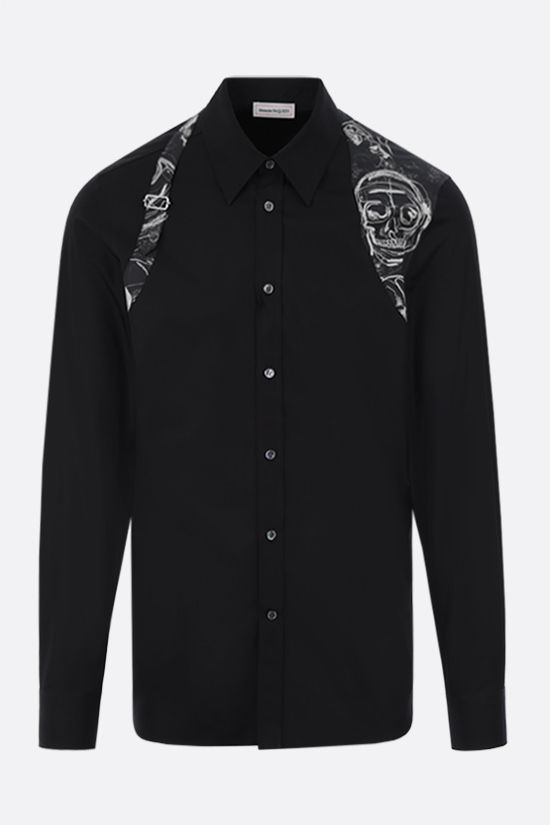 ALEXANDER McQUEEN: Skull print insert-detailed cotton shirt Color Black_1