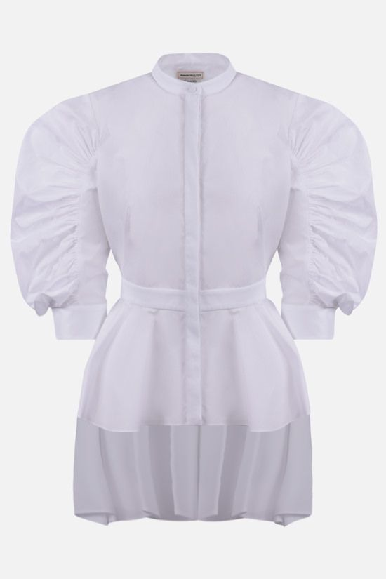 ALEXANDER McQUEEN: peplum hem-detailed cotton shirt Color White_1