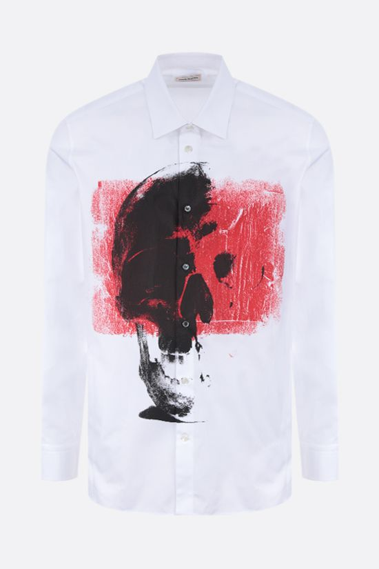 ALEXANDER McQUEEN: Punk Skull print cotton shirt Color White_1