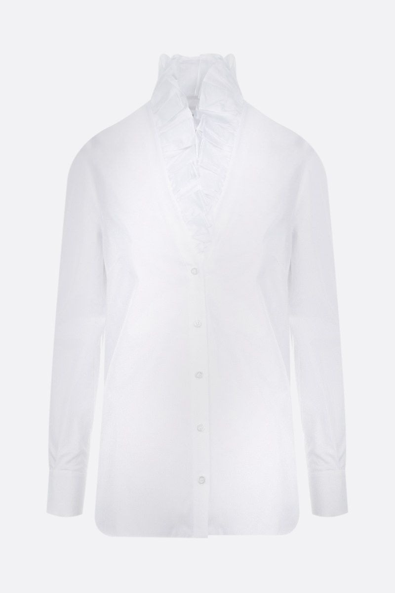 ALEXANDER McQUEEN: ruched poplin shirt Color White_1