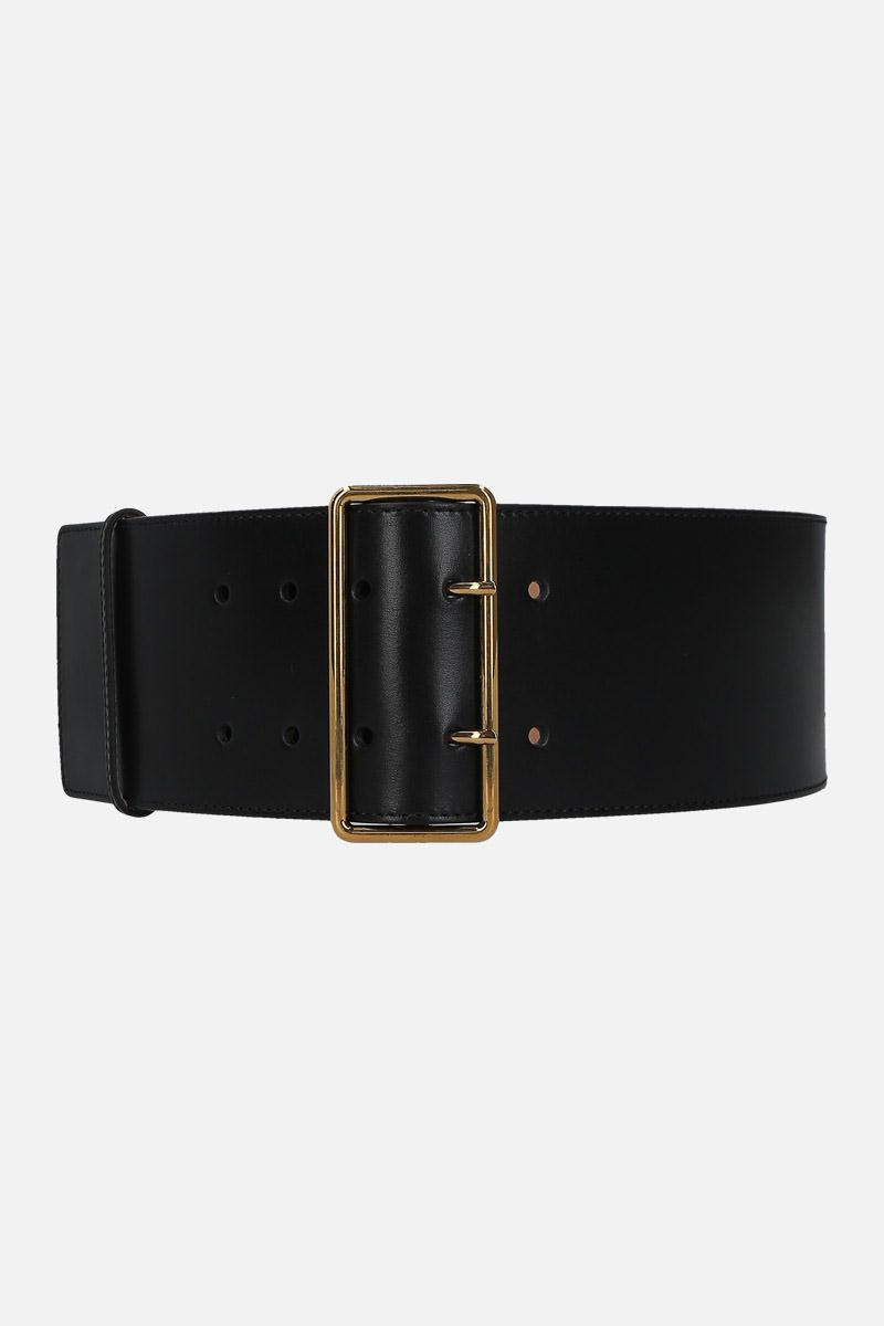 ALEXANDER McQUEEN: shiny leather waist belt Color Black